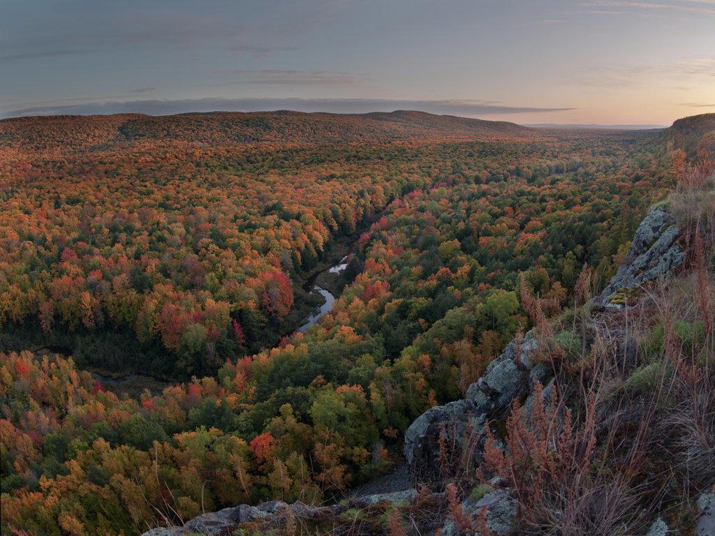 High angle view of a river, Big Carp River, Porcupine Mountains, Upper Peninsula, Michigan, USA : Stock Photo