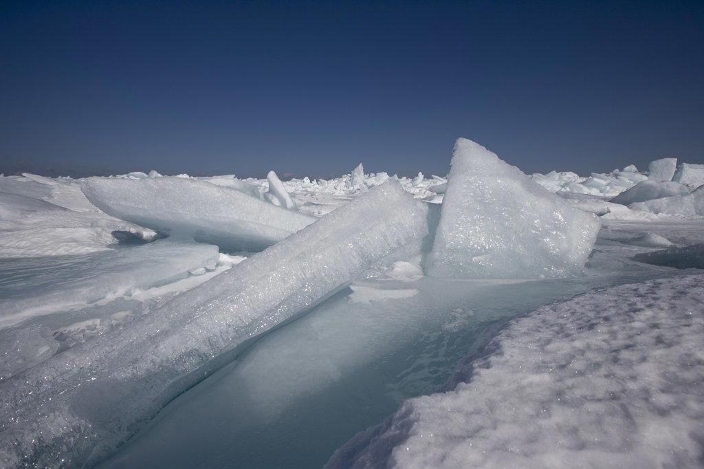 Frozen lake in winter, Empire, Leelanau County, Michigan, USA : Stock Photo