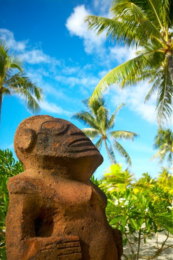 Stock Photo: 4089-139 Close-up of a Tiki god statue, Bora Bora, Society Islands, French Polynesia