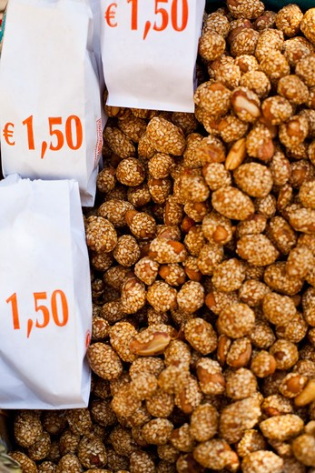 Sesame seed coated peanuts for sale at market, Plaka, Athens, Greece : Stock Photo