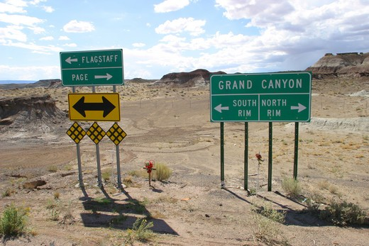 Stock Photo: 4093-10731 Road sign of the grand canyon