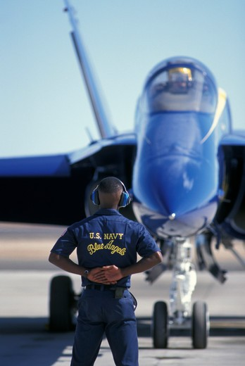 Military Jets Fixed Wing Boeing Aviat Airplanes Blue Angels USN US Navy F/A-18 Hornet runway : Stock Photo
