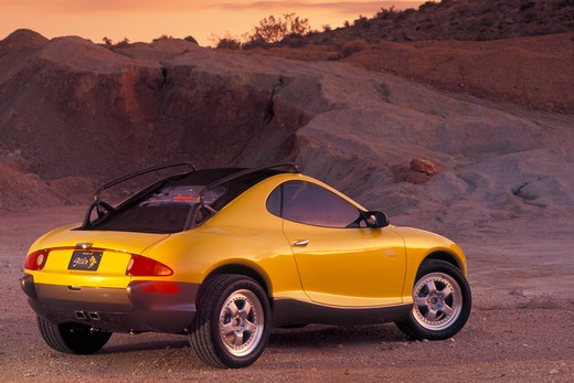 Hyundai HCDIII concept show car prototype yellow rear 3/4 beauty off-road rocks : Stock Photo