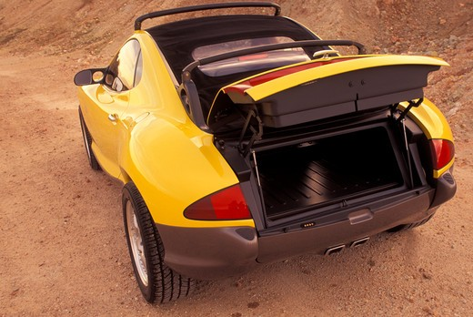 Hyundai HCDIII concept show car prototype yellow rear 3/4 off-road open trunk : Stock Photo