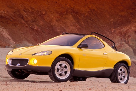 Stock Photo: 4093-11955 Hyundai HCDIII concept show car prototype yellow front 3/4 beauty headlights off-road rocks