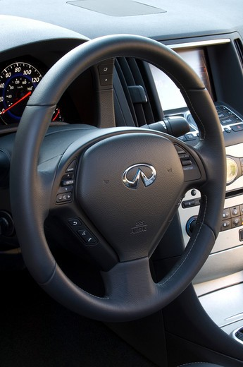 2007 red Infiniti G35 Sport sedan  Interior with G-P-S G.P.S. Global Positioning System : Stock Photo