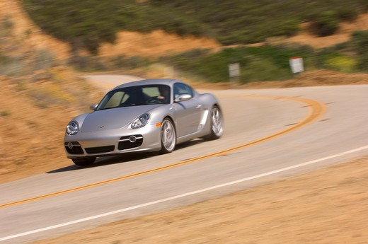 Stock Photo: 4093-13581 2007 silver Porsche Cayman S action