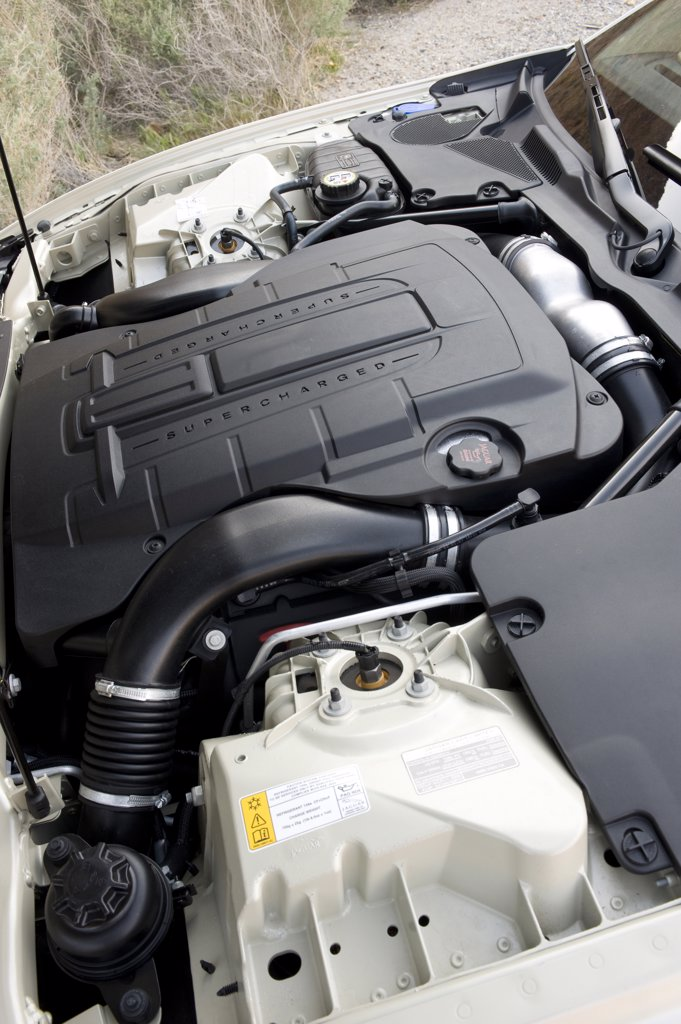 2008 Jaguar XKR engine, close-up : Stock Photo