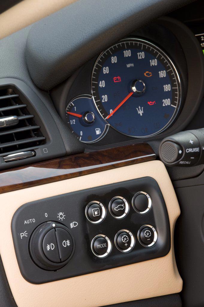 2008 Maserati GranTurismo interior, close-up of speedometer and dashboard detail : Stock Photo