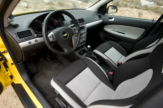 Yellow Chevrolet Cobalt SS interior, close-up : Stock Photo