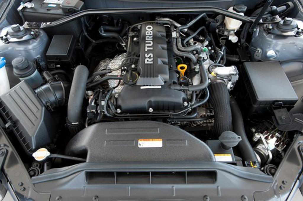 Stock Photo: 4093-14492 2010 Hyundai Genesis Coupe 2.0T close up on engine
