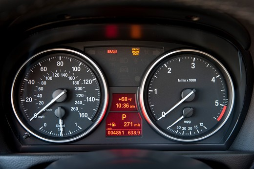 2009 BMW 335d interior, close-up of instrument panel : Stock Photo