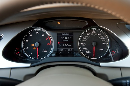 2009 Audi A4 interior close-up of instrument panel : Stock Photo
