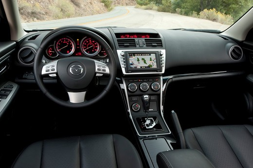 2009 Mazda 6 interior with steering wheel and dash : Stock Photo