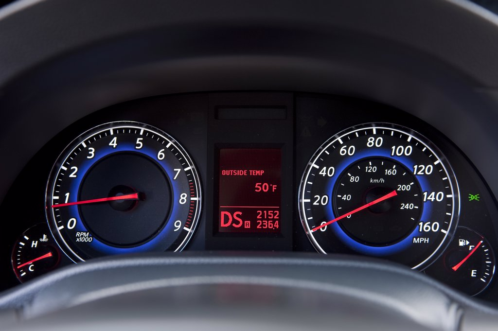 2010 Hyundai Genesis Coupe 3.8 V-6 close-up on instrument panel : Stock Photo