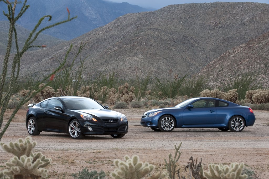 Stock Photo: 4093-14697 2009 Infiniti G37S parked in desert with 2010 Hyundai Genesis Coupe 2.0T