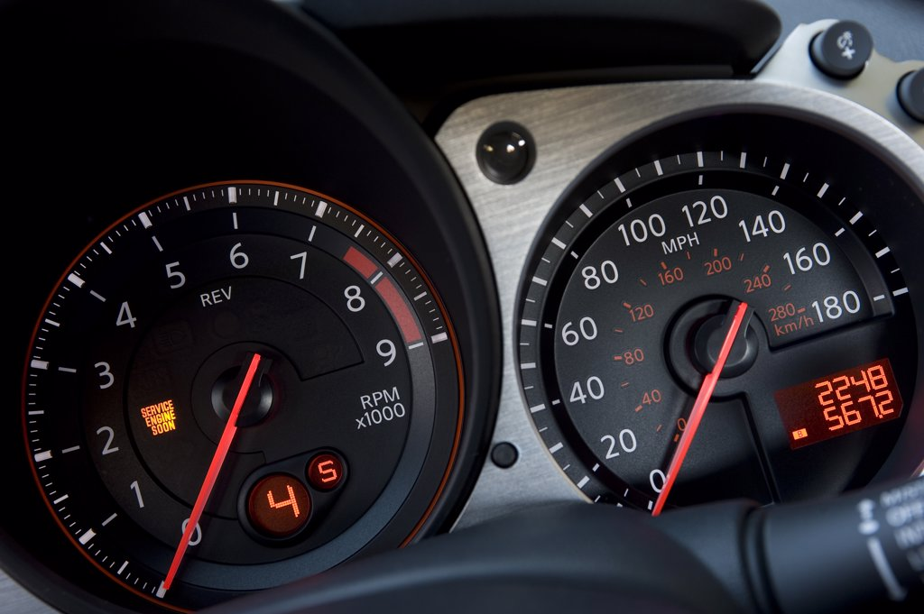 2009 Nissan 370Z interior close -up of instrument panel : Stock Photo