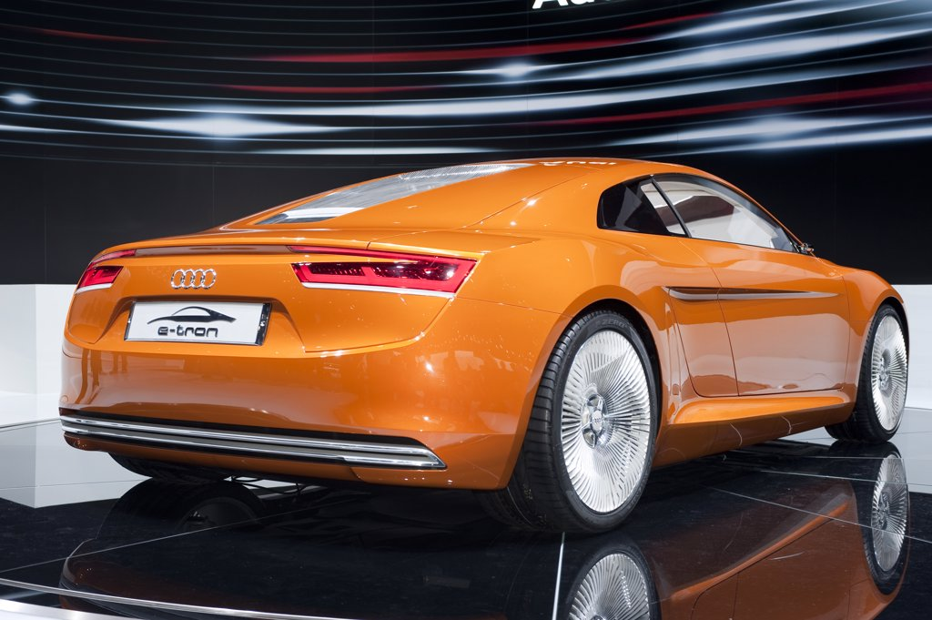 Rear 3/4 view of the Audi e-tron electric concept show car. Seen at the Los Angeles International Auto Show : Stock Photo