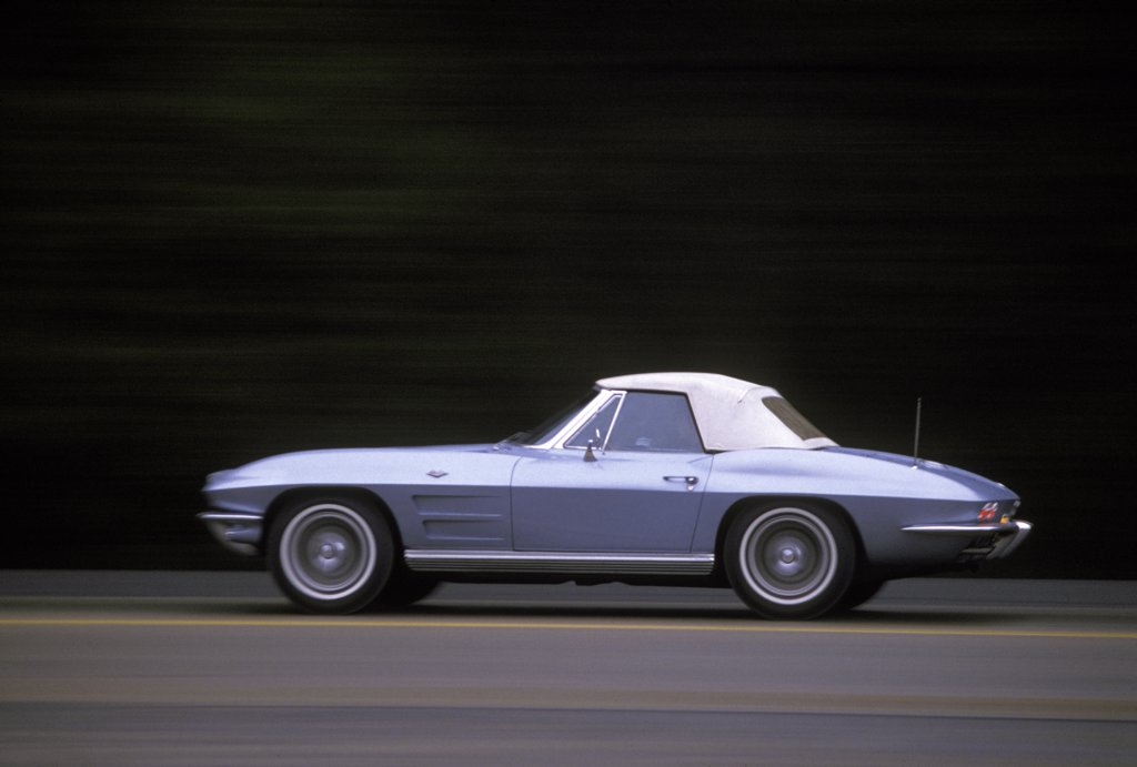 Corvette Stingray 1964 1960s blue Chevy street : Stock Photo