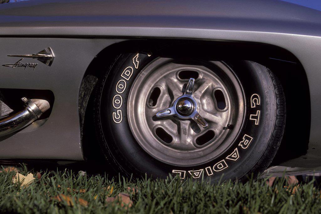 Stock Photo: 4093-15804 detail Corvette Stingray 1958 1950s silver Chevy wheel fender nomenclature badge logo grass Goodyear tire