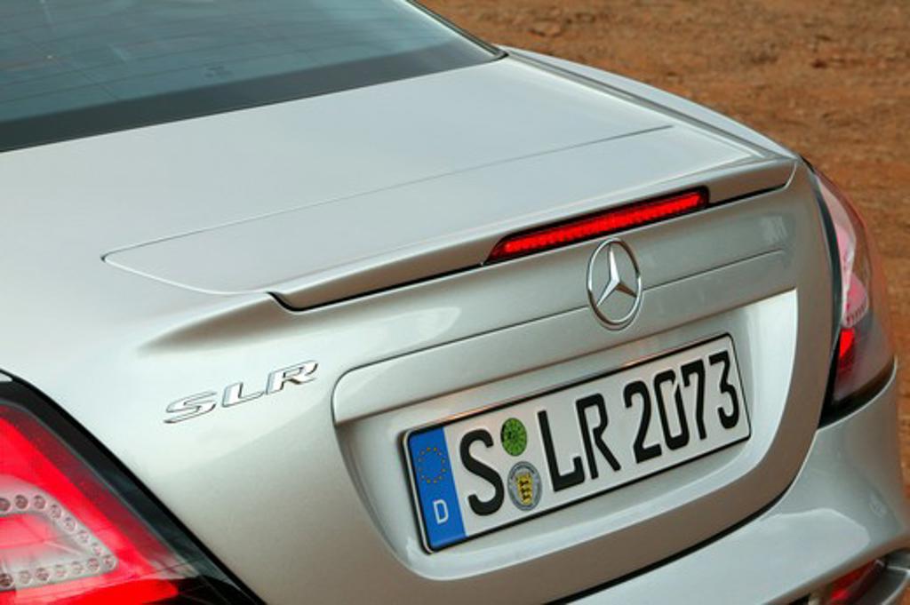 detail Mercedes Benz SLR McLaren 2005 silver brake light trunk : Stock Photo