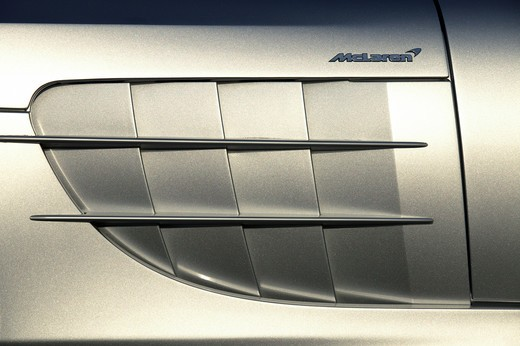 Stock Photo: 4093-16085 detail Mercedes Benz SLR McLaren 2005 silver vents slats