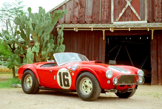 Stock Photo: 4093-16494 1962 Shelby Cobra First Shelby Cobra Race Car Red