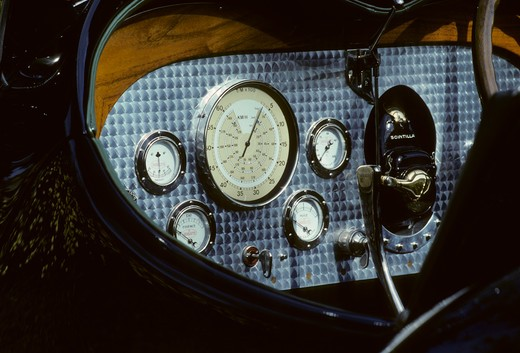 Stock Photo: 4093-16777 1932 Bugatti Type 54 interior detail gauges. The Bugatti Type 54 was a Grand Prix car of 1932. The engine put out 300 hp (223 kW) and only 4 or 5 were built. inside meters