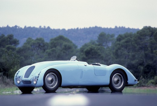 Stock Photo: 4093-16786 Bugatti Type 57 tank beauty front 3/4. In 1936 the famous Type 57 G (a lightened S chassis) with streamlined Tank bodywork won the French Grand Prix. A year later a similar car won the Le Mans 24-hour race.