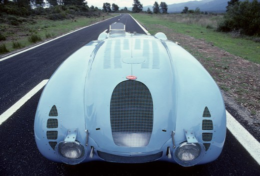 Bugatti Type 57 tank beauty front nose. In 1936 the famous Type 57 G (a lightened S chassis) with streamlined Tank bodywork won the French Grand Prix. A year later a similar car won the Le Mans 24-hour race. : Stock Photo