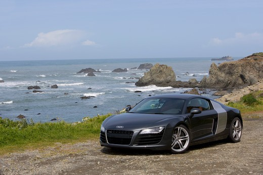 Stock Photo: 4093-16939 2007 Audi R8 R-8  The Audi R8 is a mid-engined sports car introduced by the German automaker Audi in 2007 4.2 L V8 developing 420 hp