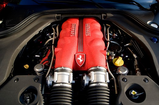 2009 Red Ferrari California engine, close-up : Stock Photo