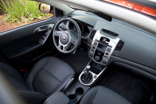 Interior view of a 2010 red Kia Forte : Stock Photo