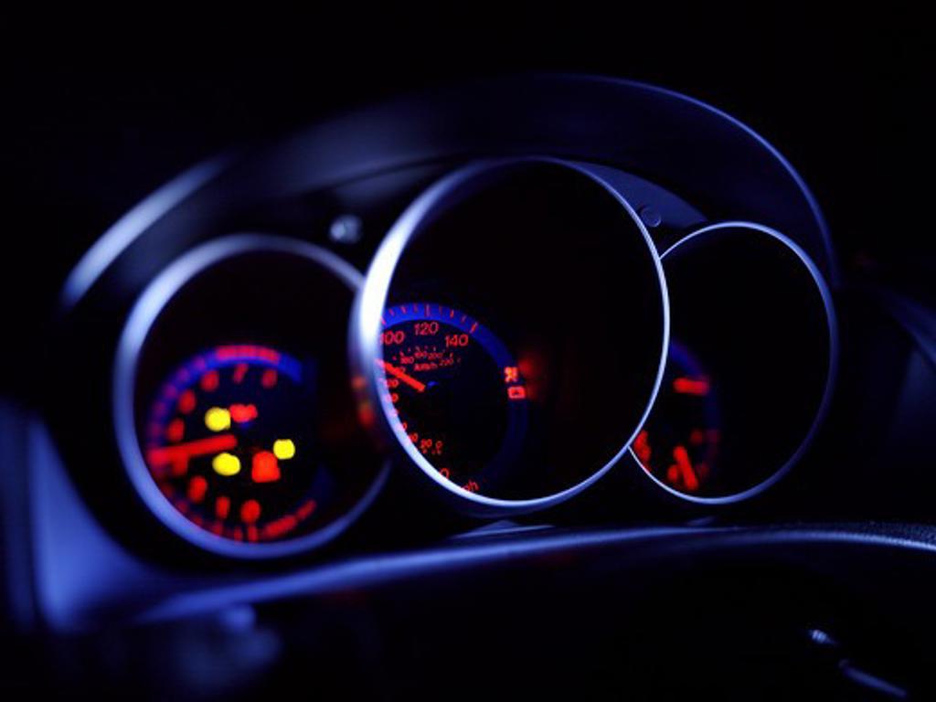 2004 Mazda Mazda3 gauges, instrument panel. : Stock Photo