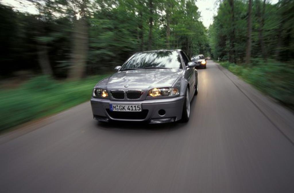 Stock Photo: 4093-18038 BMW M3 CSL M Series 2003 grey motion trees street