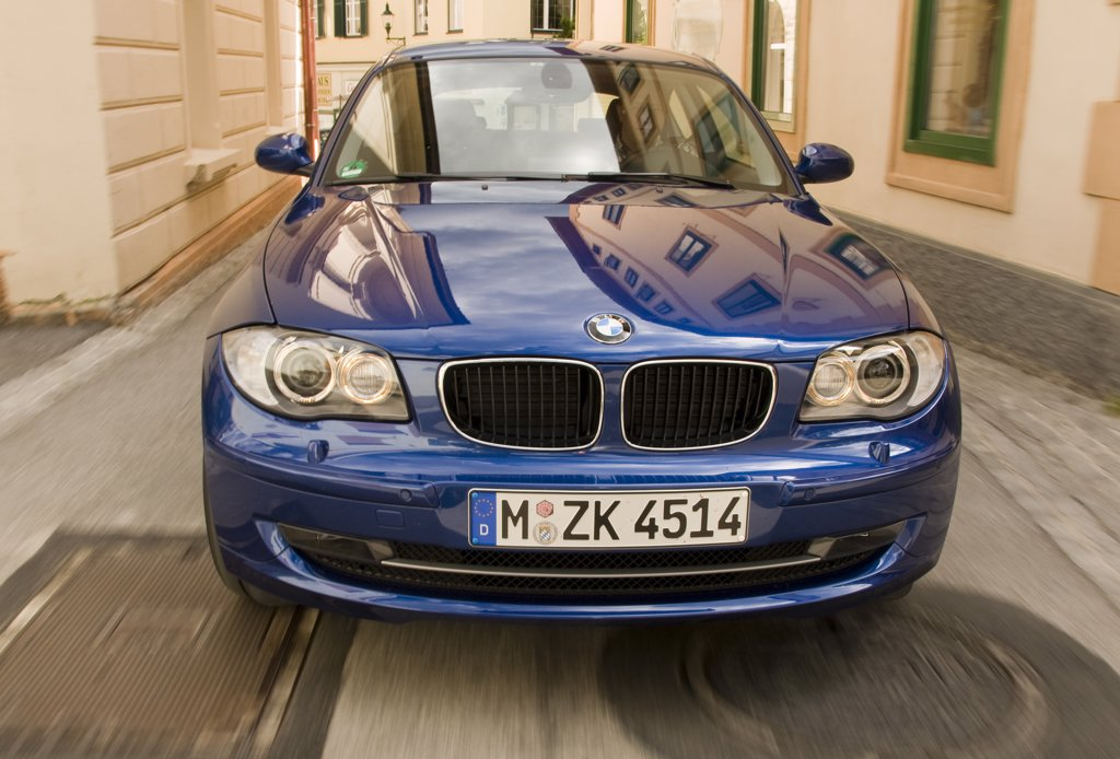2008 BMW 118d Diesel is a small-luxury car / small family car produced by the German automaker BMW. The 1 Series is the only vehicle in its class featuring rear-wheel drive and a longitudinally-mounted engine. : Stock Photo