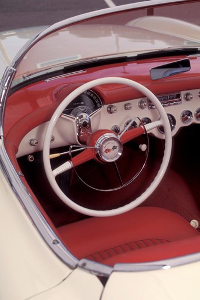 interior detail Corvette 1953 red steering wheel street : Stock Photo