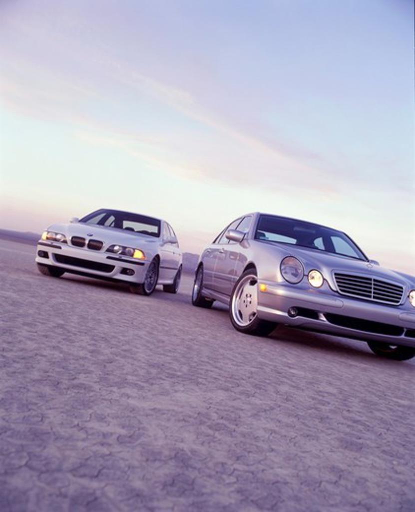Stock Photo: 4093-19861 2003 Mercedes-Benz E-Class BMW open desert cracked