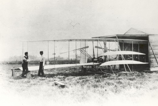 Stock Photo: 4093-20539 Wilbur and Orville Wright with the Flyer II at Huffman Prairie  outside of Dayton  Ohio  in May 1904.