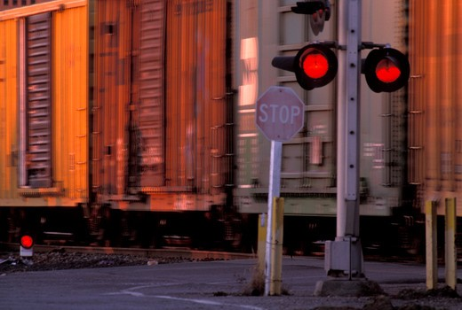 detail freight cars crossing signal stop street : Stock Photo