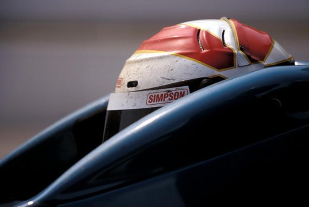 Stock Photo: 4093-21355 detail Indy IRL helmet cockpit race car