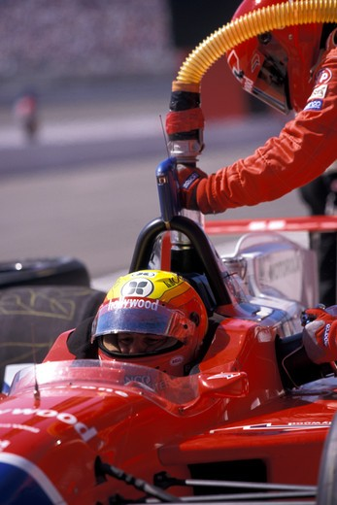detail CART PacWest Racing pit stop refueling cockpit helmet race car : Stock Photo