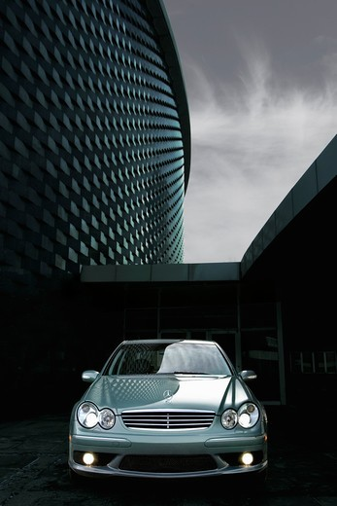 Stock Photo: 4093-22097 Mercedes Benz C55 AMG C-Class 2005 silver headlights