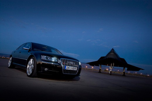 2008 Audi S8 Black With Stealth Fighter Jet : Stock Photo