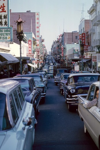 traffic bumper to crowded china town : Stock Photo