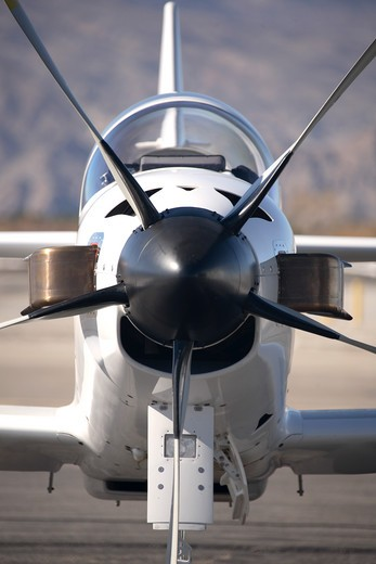 Straight on nose view of the experimental, kit built Turbine Legend private plane. This is a turbine, turbo prop powered two seat fixed wing aircraft. Powered by a Walter turboprop. It can cruise at over 300 mph. Stationary, on the ground. : Stock Photo