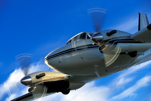 detail Turboprop Raytheon Prop Fixed Wing Aviat Airplanes Beech King Air C90SE charter sky nose : Stock Photo