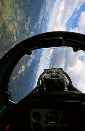 View from the back seat of a Czech Republic Aero Vodochody L-39 Albatross. : Stock Photo