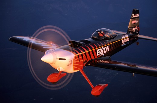 Bruce Bohannon flying his Exxon Flyin' Tiger. in which he has set more than 24 time to climb and altitude records nearing 50 000 feet altitude Air to air photos taken near Saint Augustine  FL. One of a kind airplane based on a Vans RV-4 : Stock Photo
