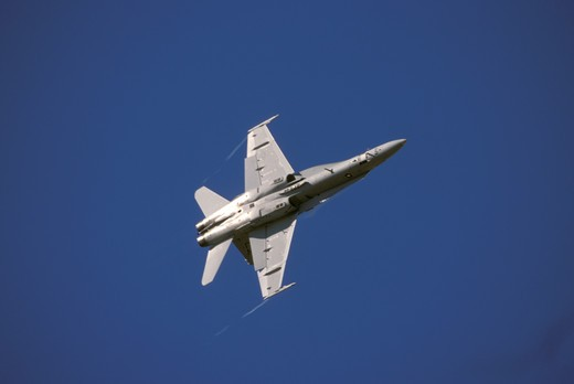 Stock Photo: 4093-26384 Military Jets Fixed Wing Boeing Aviat Airplanes F/A-18 Hornet fighter USMC U.S. Marine Corps sky rolling
